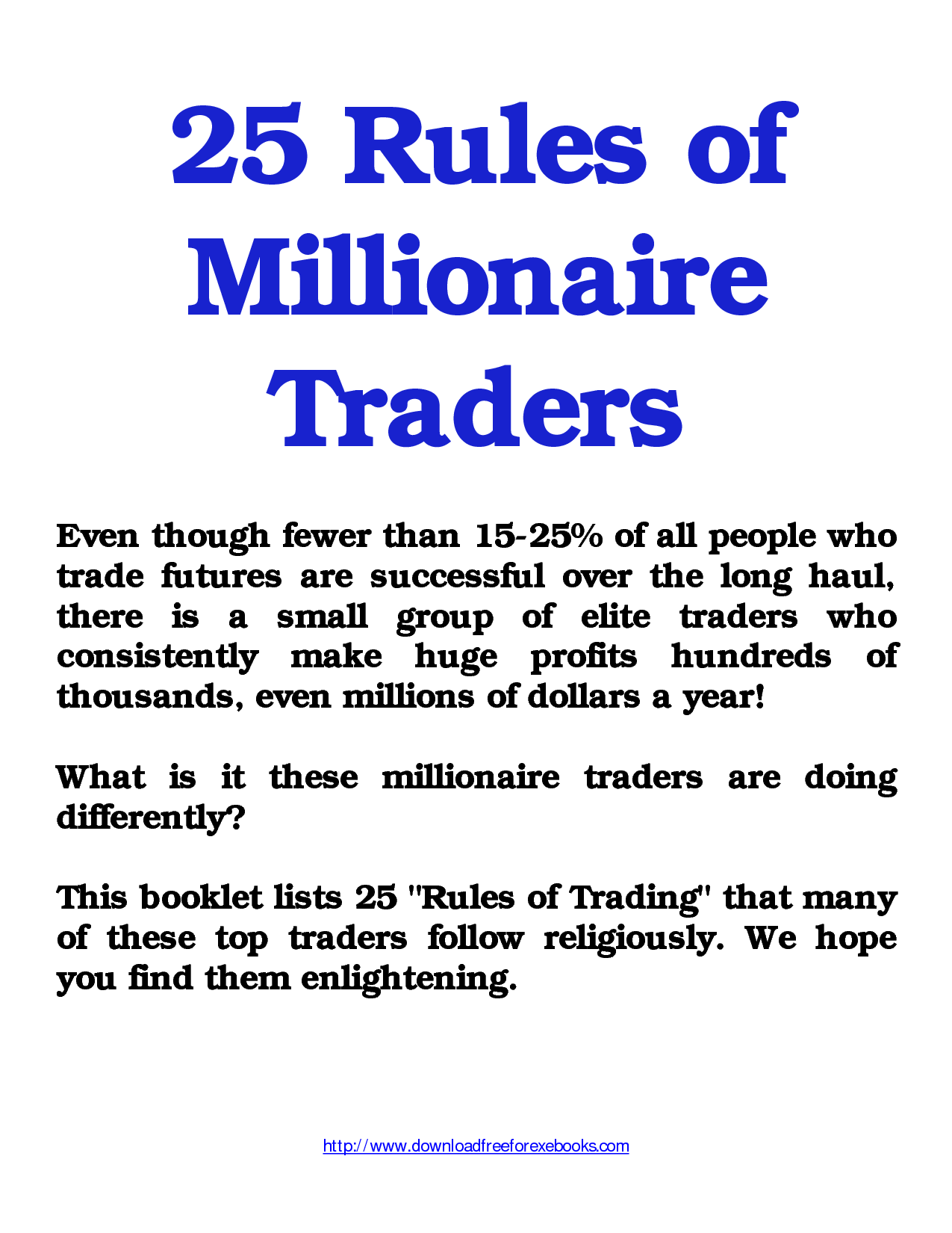 25Rules of Millionaire Traders