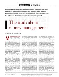 truth about money management