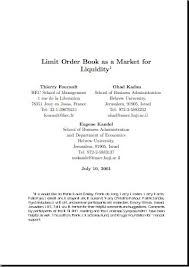 Foucault And Kadan-Limit Order Book As A Market For Liquidity