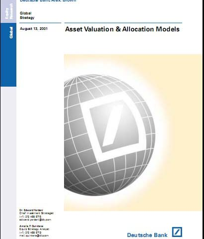 Deutsche Bank – Asset Valuation Allocation Models 2001